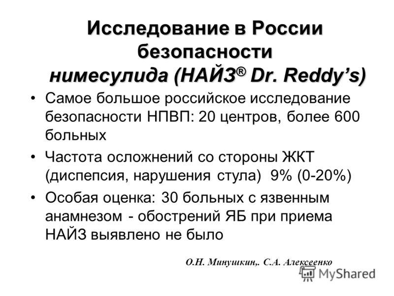 Исследование в России безопасности нимесулида (НАЙЗ ® Dr. Reddys) Самое большое российское исследование безопасности НПВП: 20 центров, более 600 больных Частота осложнений со стороны ЖКТ (диспепсия, нарушения стула) 9% (0-20%) Особая оценка: 30 больн
