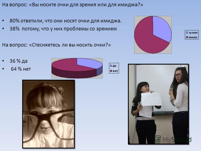 На вопрос: «Вы носите очки для зрения или для имиджа?» 80% ответили, что они носят очки для имиджа. 38% потому, что у них проблемы со зрением На вопрос: «Стесняетесь ли вы носить очки?» 36 % да 64 % нет