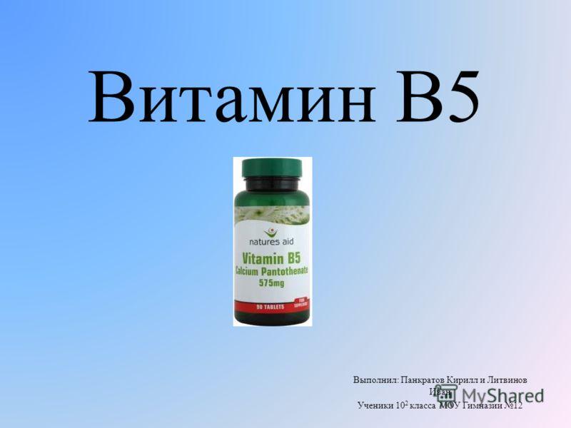Витамин B5 Выполнил: Панкратов Кирилл и Литвинов Иван Ученики 10 2 класса МОУ Гимназии 12