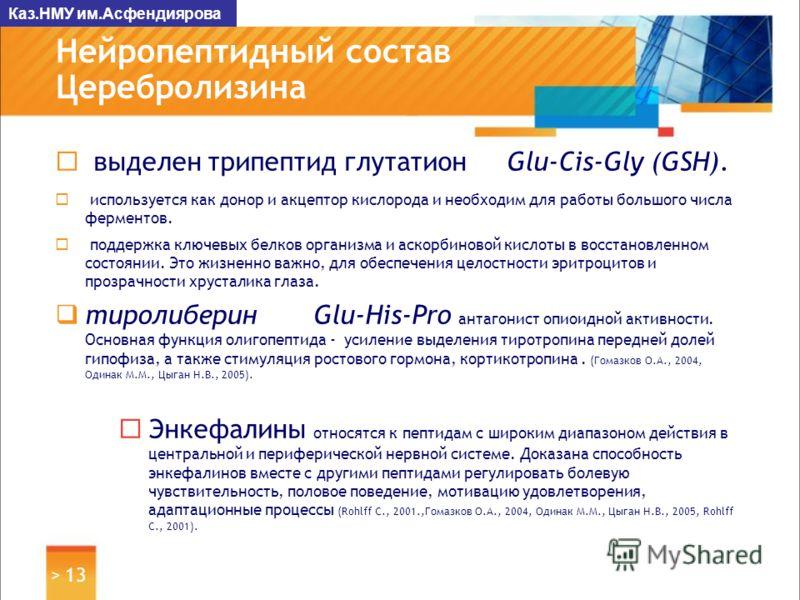 > 13 Нейропептидный состав Церебролизина выделен трипептид глутатион Glu-Cis-Gly (GSH). используется как донор и акцептор кислорода и необходим для работы большого числа ферментов. поддержка ключевых белков организма и аскорбиновой кислоты в восстано