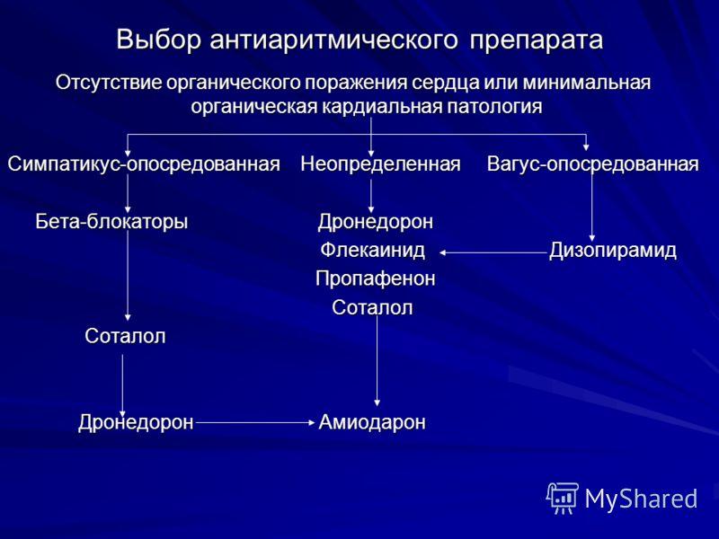 Выбор антиаритмического препарата Отсутствие органического поражения сердца или минимальная органическая кардиальная патология Симпатикус-опосредованн