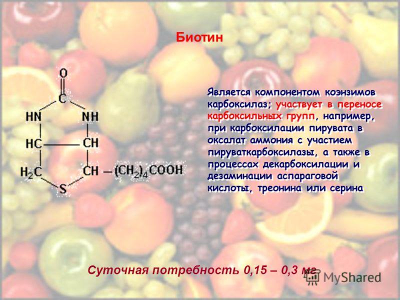 Биотин Суточная потребность 0,15 – 0,3 мг Является компонентом коэнзимов карбоксилаз; участвует в переносе карбоксильных групп, например, при карбоксилации пирувата в оксалат аммония с участием пируваткарбоксилазы, а также в процессах декарбоксилации