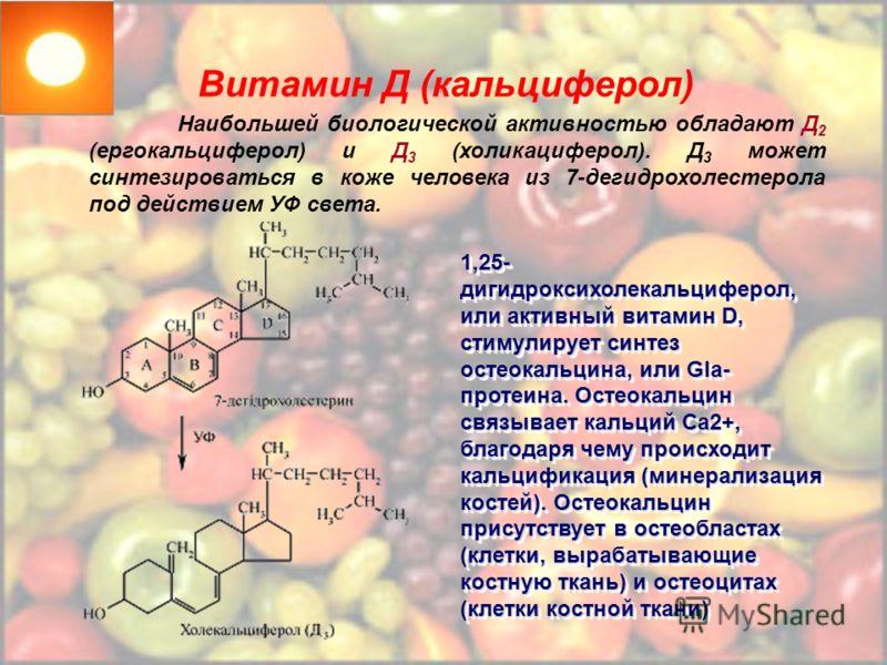 Витамин Д (кальциферол) Наибольшей биологической активностью обладают Д 2 (ергокальциферол) и Д 3 (холикациферол). Д 3 может синтезироваться в коже человека из 7-дегидрохолестерола под действием УФ света. 1,25- дигидроксихолекальциферол, или активный