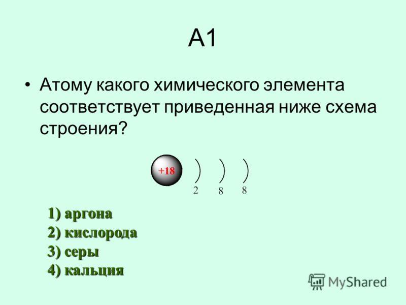 А1 Атому какого химического элемента соответствует приведенная ниже схема строения? 1) аргона 2) кислорода 3) серы 4) кальция