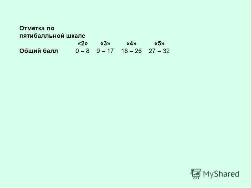 Отметка по пятибалльной шкале «2» «3» «4» «5» Общий балл 0 – 8 9 – 17 18 – 26 27 – 32