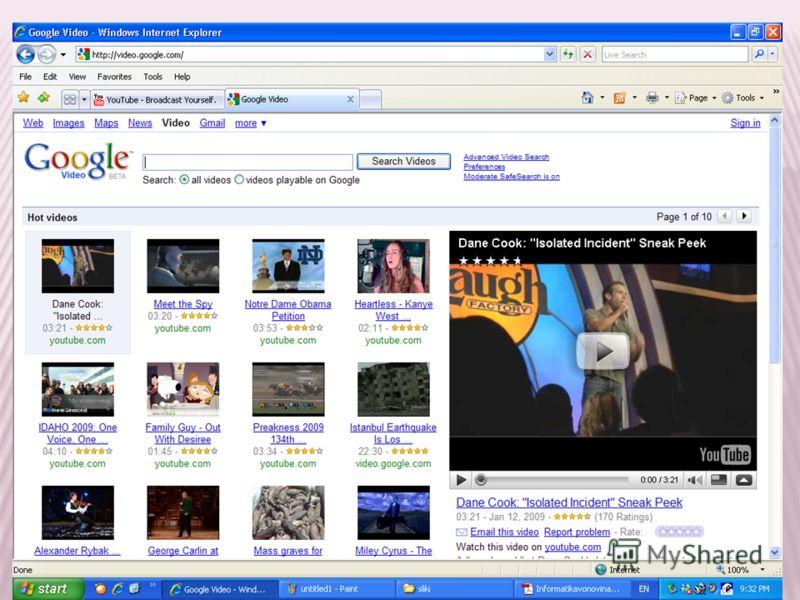 Неколкуте категории на почетната страна го прецизираат пребарувањето,додека напредното пребарување овозможува избор на видеата, времетраењето, и тоа помало од 4 минути, од 4 до 20, или поголемо од 20 минути, пребарување на беслпатни или видеа за кои
