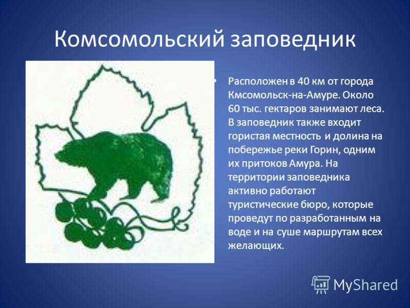 Комсомольский заповедник Расположен в 40 км от города Кмсомольск-на-Амуре. Около 60 тыс. гектаров занимают леса. В заповедник также входит гористая местность и долина на побережье реки Горин, одним их притоков Амура. На территории заповедника активно