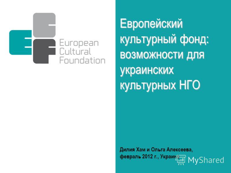 Дилия Хам и Ольга Алексеева, февраль 2012 г., Украина Европейский культурный фонд: возможности для украинских культурных НГО