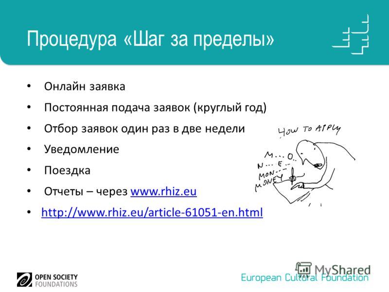 Процедура «Шаг за пределы» Онлайн заявка Постоянная подача заявок (круглый год) Отбор заявок один раз в две недели Уведомление Поездка Отчеты – через www.rhiz.euwww.rhiz.eu http://www.rhiz.eu/article-61051-en.html