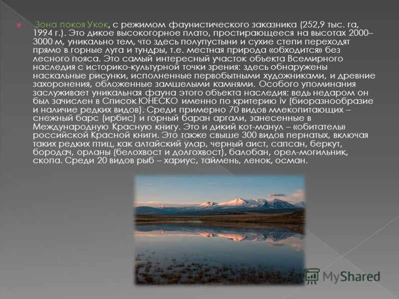 Зона покоя Укок, с режимом фаунистического заказника (252,9 тыс. га, 1994 г.). Это дикое высокогорное плато, простирающееся на высотах 2000– 3000 м, уникально тем, что здесь полупустыни и сухие степи переходят прямо в горные луга и тундры, т.е. местн