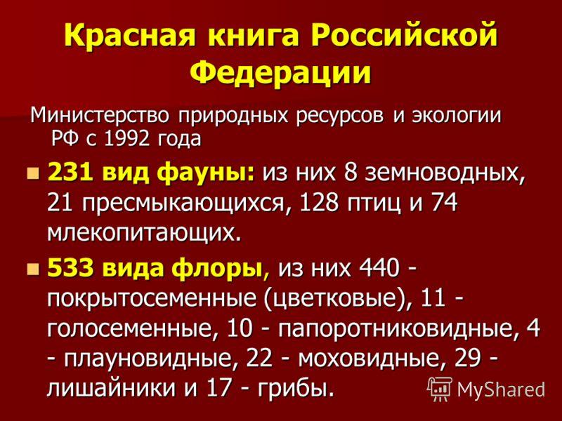Красная книга Российской Федерации Министерство природных ресурсов и экологии РФ с 1992 года 231 вид фауны: из них 8 земноводных, 21 пресмыкающихся, 128 птиц и 74 млекопитающих. 231 вид фауны: из них 8 земноводных, 21 пресмыкающихся, 128 птиц и 74 мл