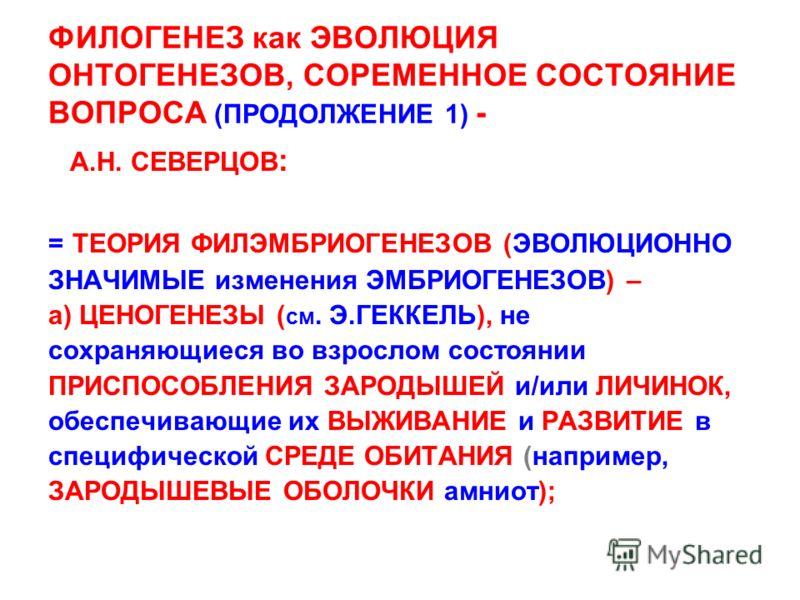 ФИЛОГЕНЕЗ как ЭВОЛЮЦИЯ ОНТОГЕНЕЗОВ, СОРЕМЕННОЕ СОСТОЯНИЕ ВОПРОСА (ПРОДОЛЖЕНИЕ 1) - А.Н. СЕВЕРЦОВ : = ТЕОРИЯ ФИЛЭМБРИОГЕНЕЗОВ (ЭВОЛЮЦИОННО ЗНАЧИМЫЕ изменения ЭМБРИОГЕНЕЗОВ) – а) ЦЕНОГЕНЕЗЫ ( см. Э.ГЕККЕЛЬ), не сохраняющиеся во взрослом состоянии ПРИСП