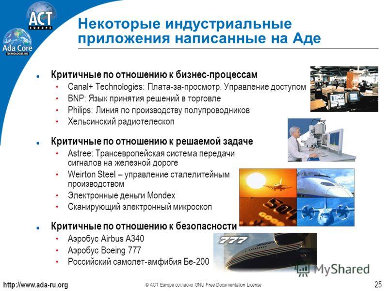 http://www.ada-ru.org © ACT Europe согласно GNU Free Documentation License 25 Критичные по отношению к бизнес-процессам Canal+ Technologies: Плата-за-просмотр. Управление доступом BNP: Язык принятия решений в торговле Philips: Линия по производству п