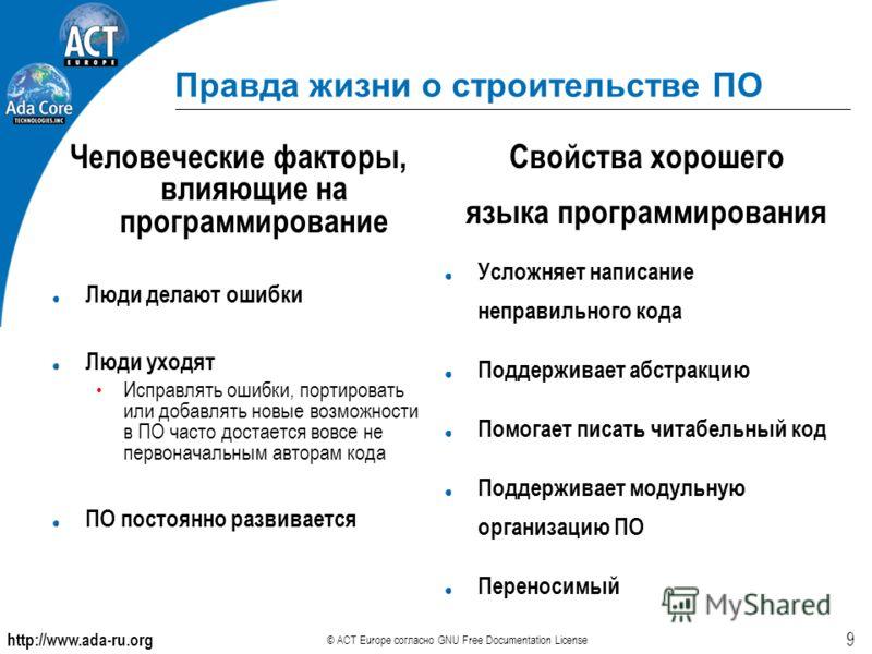 http://www.ada-ru.org © ACT Europe согласно GNU Free Documentation License 9 Правда жизни о строительстве ПО Человеческие факторы, влияющие на программирование Люди делают ошибки Люди уходят Исправлять ошибки, портировать или добавлять новые возможно