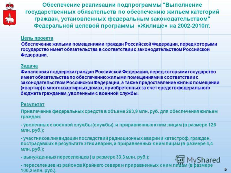 5 Цель проекта Обеспечение жилыми помещениями граждан Российской Федерации, перед которыми государство имеет обязательства в соответствии с законодательством Российской Федерации. Обеспечение жилыми помещениями граждан Российской Федерации, перед кот