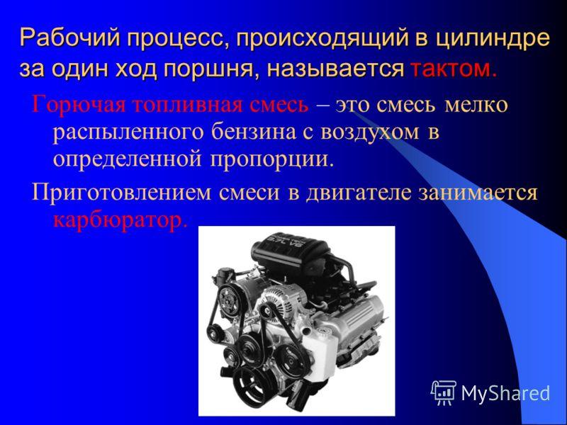 Рабочий процесс, происходящий в цилиндре за один ход поршня, называется тактом. Горючая топливная смесь – это смесь мелко распыленного бензина с воздухом в определенной пропорции. Приготовлением смеси в двигателе занимается карбюратор.