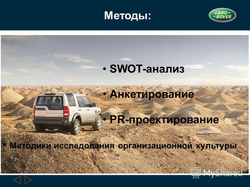 SWOT-анализ Анкетирование PR-проектирование Методики исследования организационной культуры Методы: