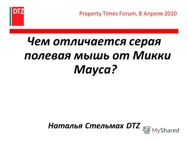 Чем отличается серая полевая мышь от Микки Мауса? Наталья Стельмах DTZ Property Times Forum, 8 Апреля 2010