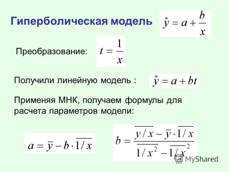 Гиперболическая модель Преобразование: Получили линейную модель : Применяя МНК, получаем формулы для расчета параметров модели: