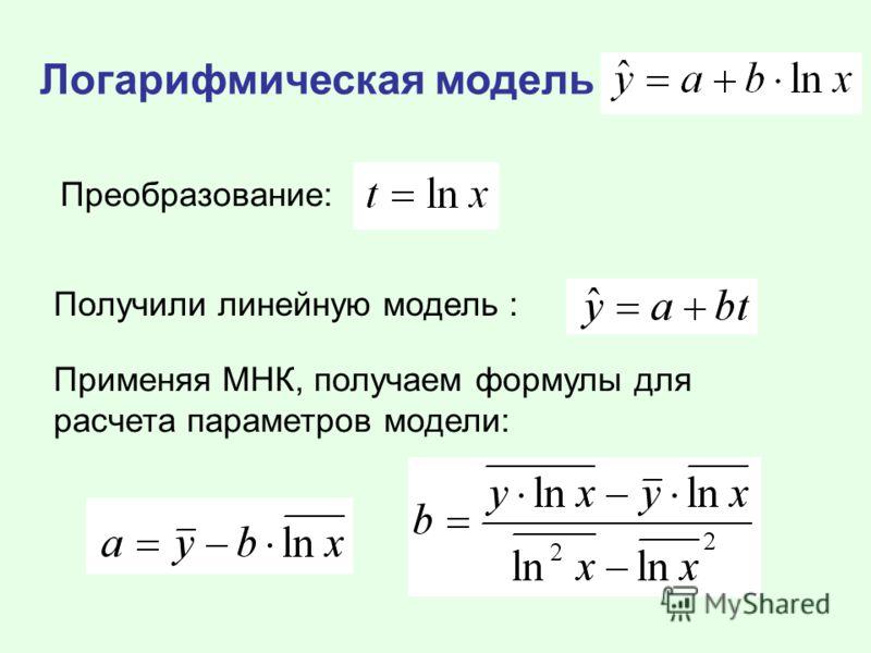 Логарифмическая модель Преобразование: Получили линейную модель : Применяя МНК, получаем формулы для расчета параметров модели: