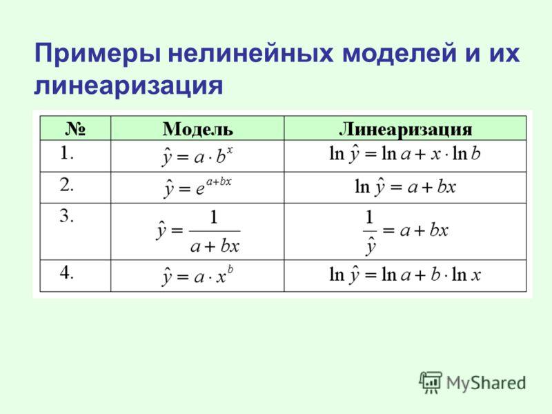 Примеры нелинейных моделей и их линеаризация