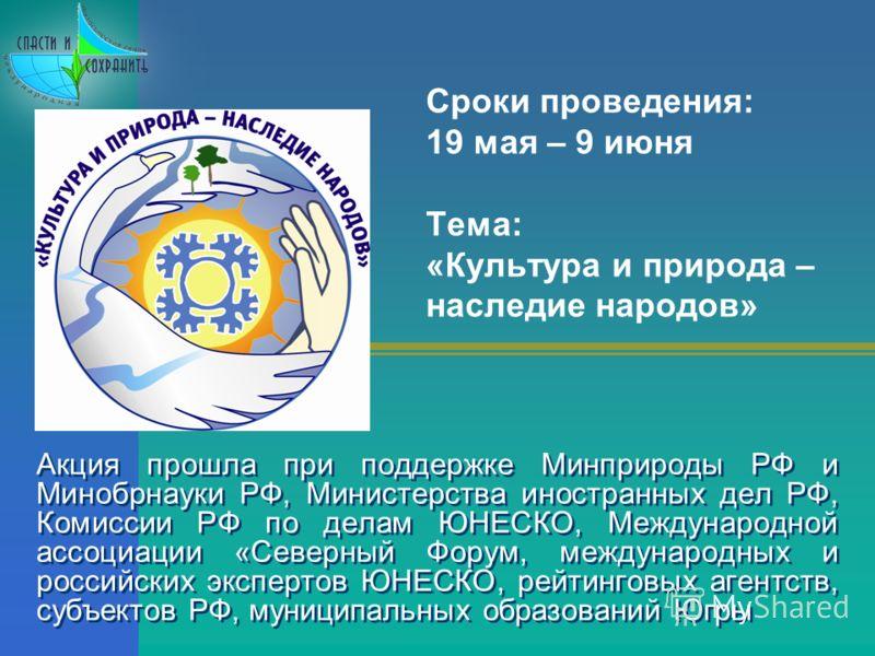 Акция прошла при поддержке Минприроды РФ и Минобрнауки РФ, Министерства иностранных дел РФ, Комиссии РФ по делам ЮНЕСКО, Международной ассоциации «Северный Форум, международных и российских экспертов ЮНЕСКО, рейтинговых агентств, субъектов РФ, муници