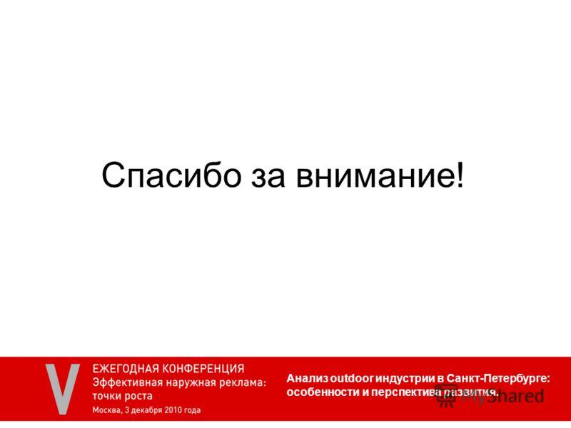 Анализ outdoor индустрии в Санкт-Петербурге: особенности и перспектива развития. Спасибо за внимание!