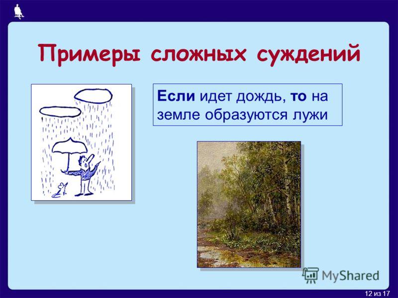 12 из 17 Если идет дождь, то на земле образуются лужи Примеры сложных суждений