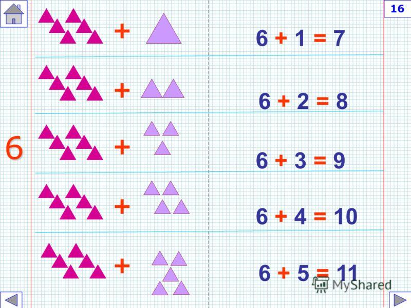 5 + 6 = 11 5 + 7 = 12 5 + 8 = 13 5 + 9 = 14 5 + 10 = 15 + + + + 5 + 15