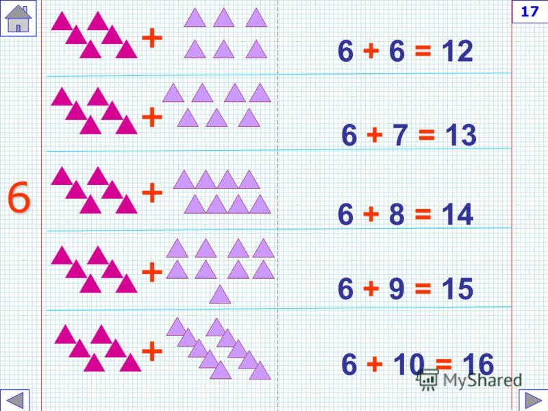 6 + 1 = 7 6 + 2 = 8 6 + 3 = 9 6 + 4 = 10 6 + 5 = 11 + + + + + 6 16