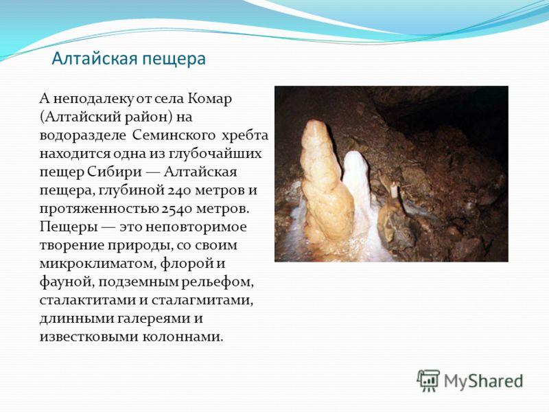 Алтайская пещера А неподалеку от села Комар (Алтайский район) на водоразделе Семинского хребта находится одна из глубочайших пещер Сибири Алтайская пещера, глубиной 240 метров и протяженностью 2540 метров. Пещеры это неповторимое творение природы, со