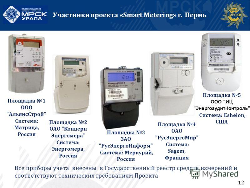 12 Участники проекта «Smart Metering» г. Пермь Площадка 2 ОАО