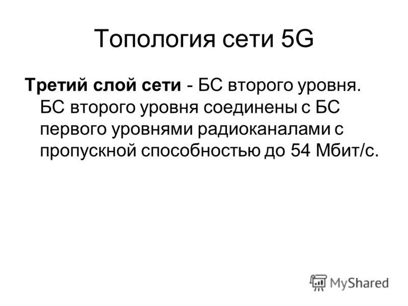 Топология сети 5G Третий слой сети - БС второго уровня. БС второго уровня соединены с БС первого уровнями радиоканалами с пропускной способностью до 54 Мбит/с.