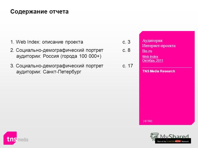 Аудитория Интернет-проекта Bn.ru Web Index Октябрь 2011 TNS Media Research | © TNS c. 8 2. Социально-демографический портрет аудитории: Россия (города 100 000+) c. 17 3. Социально-демографический портрет аудитории: Санкт-Петербург 1. Web Index: описа