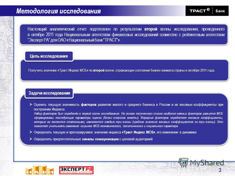 Получить значение «Траст Индекс МСБ» по второй волне, отражающее состояние бизнес-климата страны в октябре 2011 года. Цель исследования Методология исследования 3 Оценить текущую значимость факторов развития малого и среднего бизнеса в России и их ве