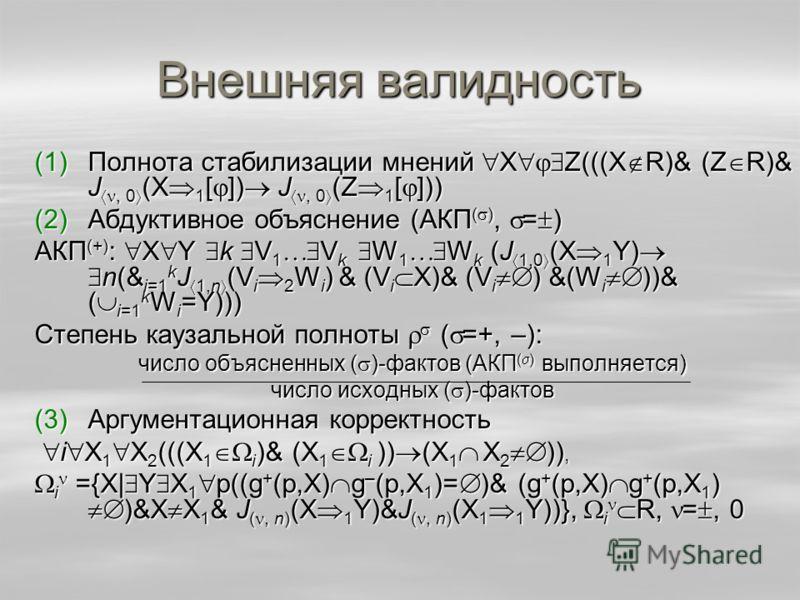 Внешняя валидность (1)Полнота стабилизации мнений X Z(((X R)& (Z R)& J, 0 (X 1 [ ]) J, 0 (Z 1 [ ])) (2)Абдуктивное объяснение (АКП ( ), = ) АКП (+) : X Y k V 1 V k W 1 W k (J 1,0 (X 1 Y) n(& i=1 k J 1,n (V i 2 W i ) & (V i X)& (V i ) &(W i ))& ( i=1