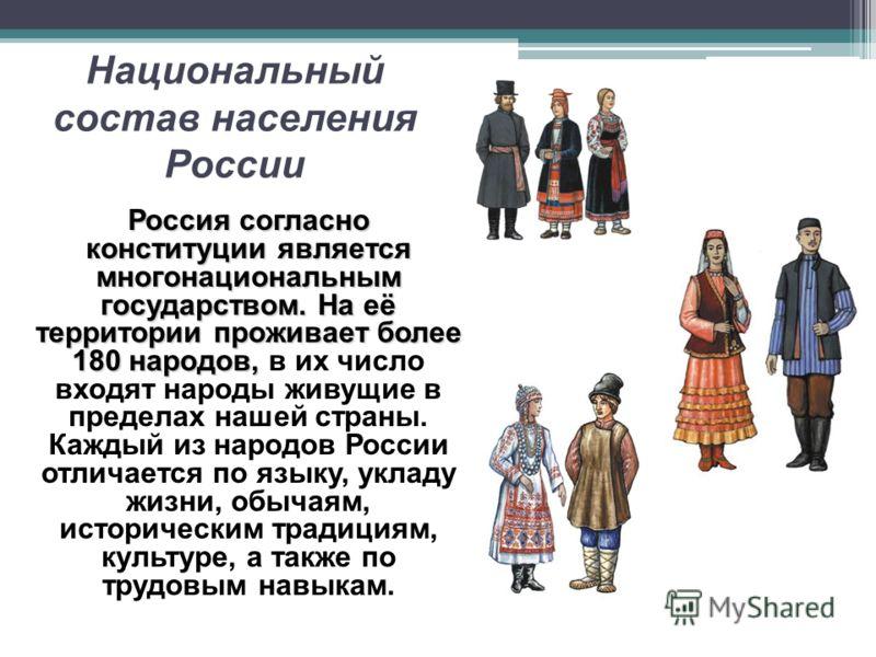 Национальный состав населения России Россия согласно конституции является многонациональным государством. На её территории проживает более 180 народов, Россия согласно конституции является многонациональным государством. На её территории проживает бо