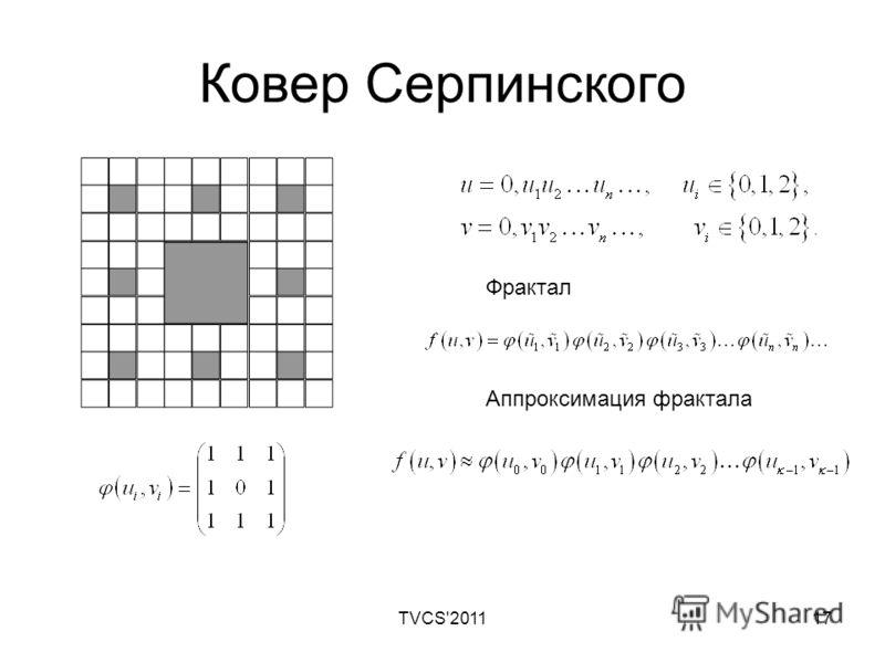 TVCS'201117 Ковер Серпинского Фрактал Аппроксимация фрактала