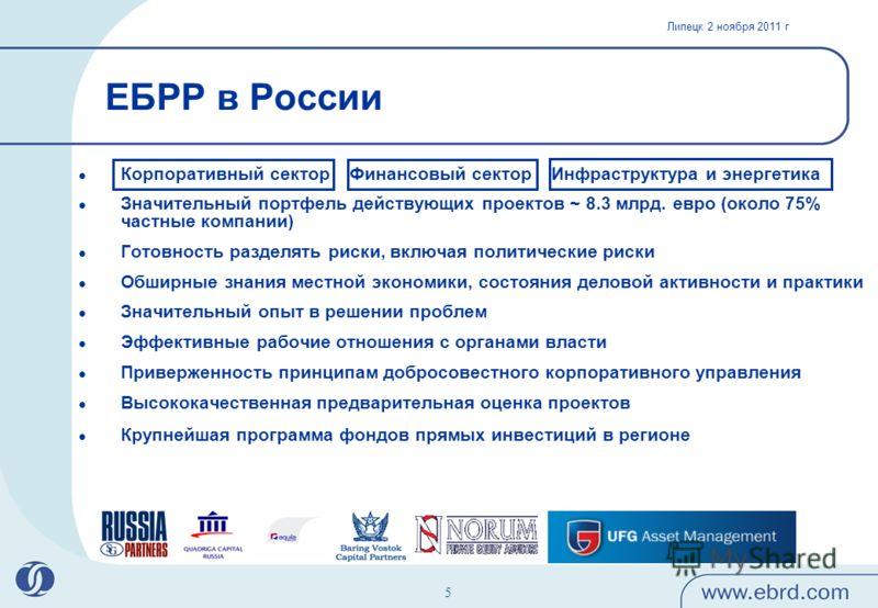 Липецк 2 ноября 2011 г 5 ЕБРР в России Корпоративный сектор Финансовый сектор Инфраструктура и энергетика Значительный портфель действующих проектов ~ 8.3 млрд. евро (около 75% частные компании) Готовность разделять риски, включая политические риски