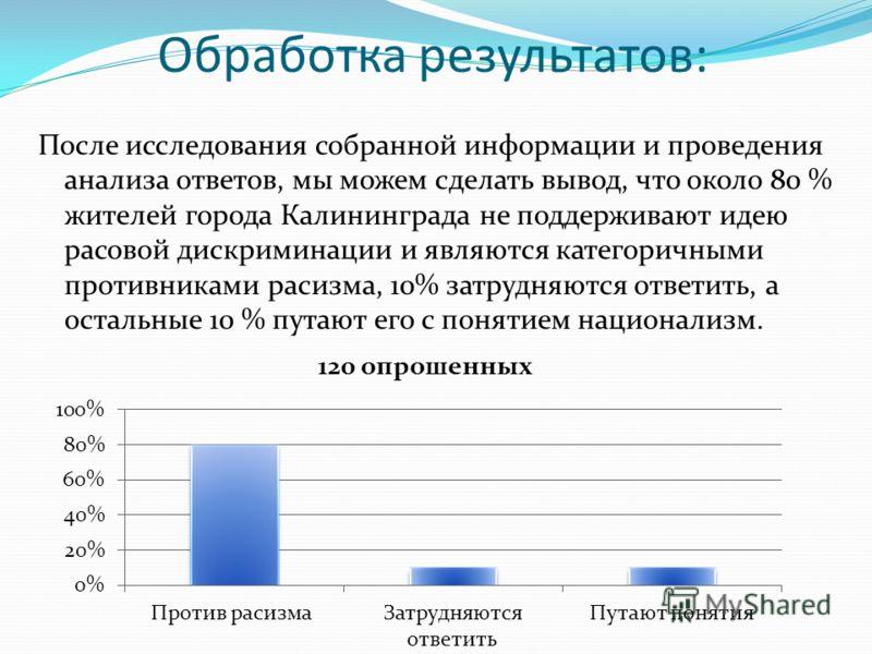 Обработка результатов: После исследования собранной информации и проведения анализа ответов, мы можем сделать вывод, что около 80 % жителей города Калининграда не поддерживают идею расовой дискриминации и являются категоричными противниками расизма,