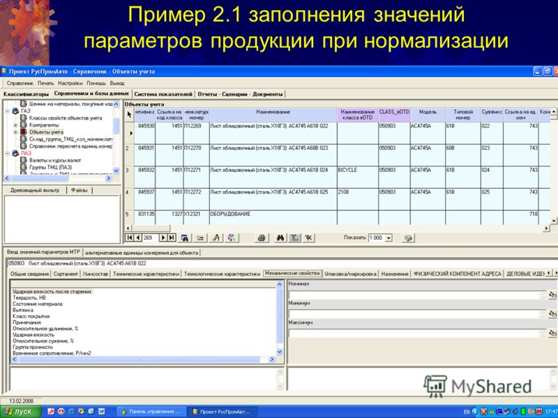 Пример 2.1 заполнения значений параметров продукции при нормализации