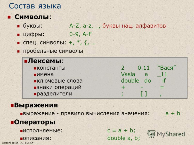 ©Павловская Т.А. Язык С# Состав языка Символы: буквы: A-Z, a-z, _, буквы нац. алфавитов цифры: 0-9, A-F спец. символы: +, *, {, … пробельные символы Лексемы: константы2 0.11 Вася именаVasia a _11 ключевые словаdouble do if знаки операций+ - = раздели