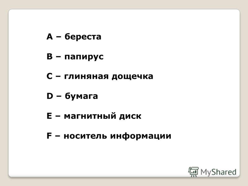 А – береста В – папирус С – глиняная дощечка D – бумага Е – магнитный диск F – носитель информации