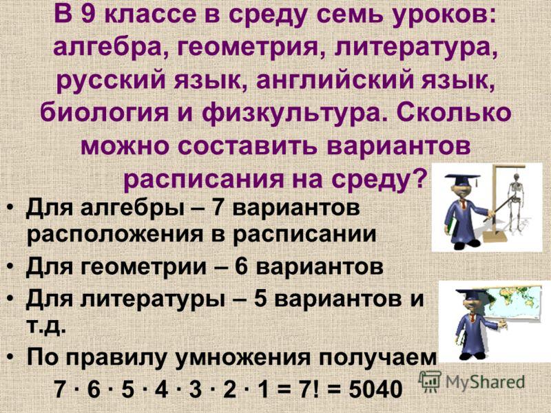 В 9 классе в среду семь уроков: алгебра, геометрия, литература, русский язык, английский язык, биология и физкультура. Сколько можно составить вариантов расписания на среду? Для алгебры – 7 вариантов расположения в расписании Для геометрии – 6 вариан