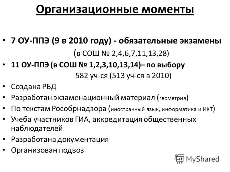 Организационные моменты 7 ОУ-ППЭ (9 в 2010 году) - обязательные экзамены ( в СОШ 2,4,6,7,11,13,28) 11 ОУ-ППЭ (в СОШ 1,2,3,10,13,14)– по выбору 582 уч-ся (513 уч-ся в 2010) Создана РБД Разработан экзаменационный материал ( геометрия ) По текстам Рособ