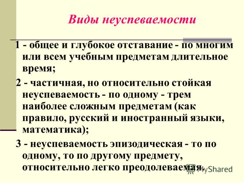 Виды неуспеваемости 1 - общее и глубокое отставание - по многим или всем учебным предметам длительное время; 2 - частичная, но относительно стойкая неуспеваемость - по одному - трем наиболее сложным предметам (как правило, русский и иностранный языки