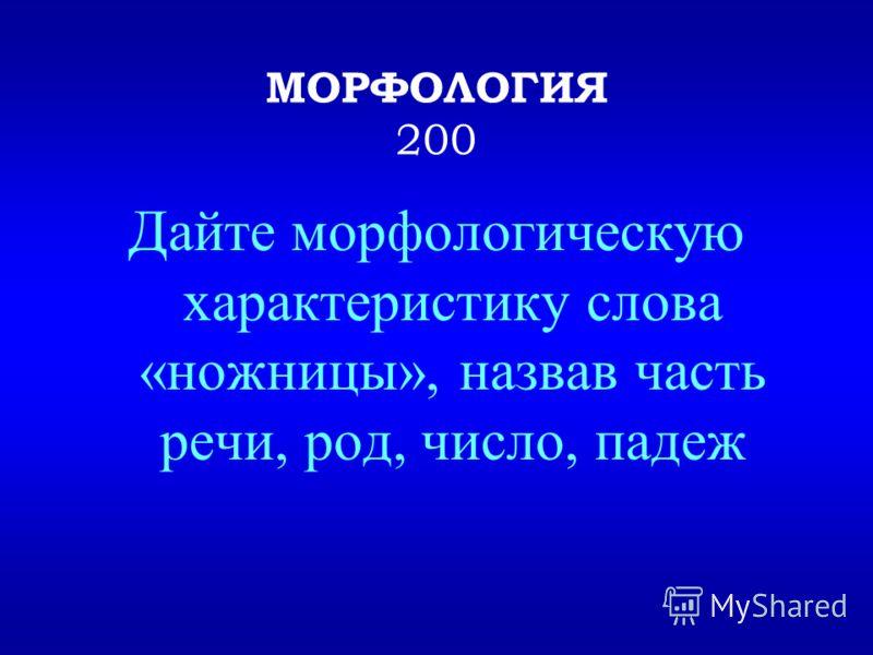 Морфология – раздел русского языка, изучающий слова как части речи Выход Назад