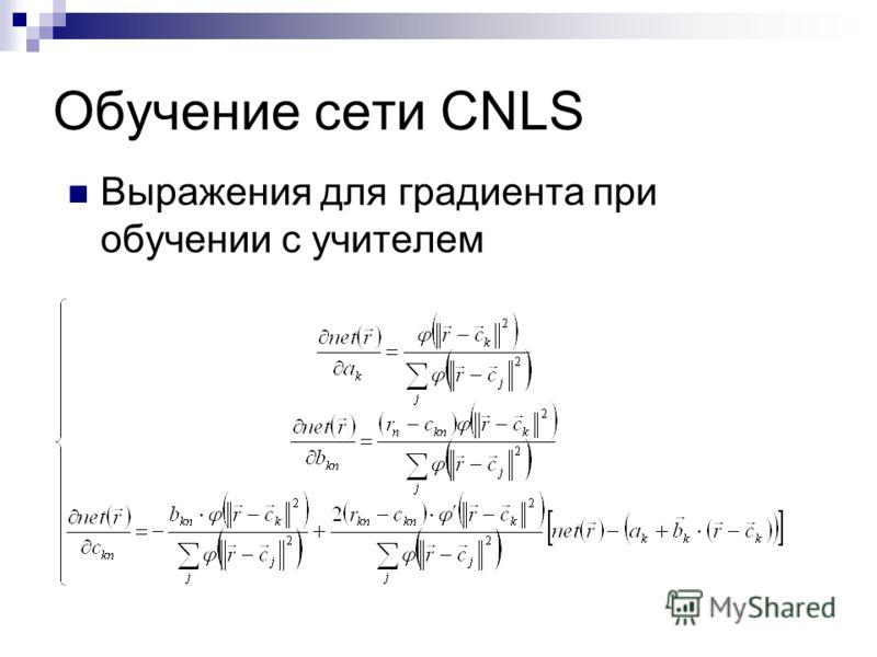 Обучение сети CNLS Выражения для градиента при обучении с учителем