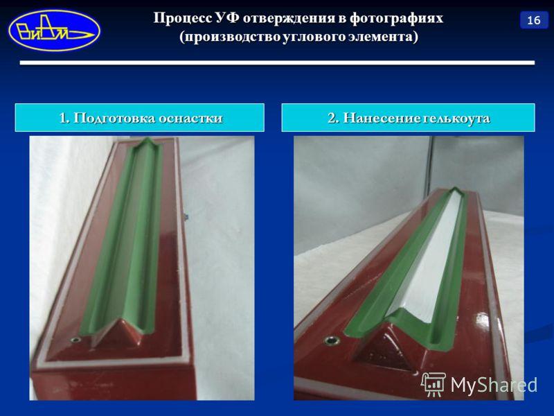 Процесс УФ отверждения в фотографиях (производство углового элемента) 16 1. Подготовка оснастки 2. Нанесение гелькоута