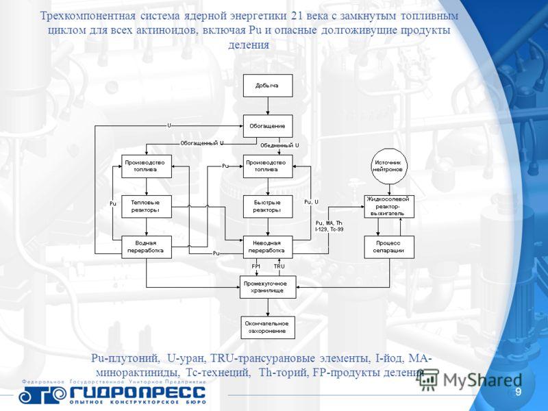 9 Трехкомпонентная система ядерной энергетики 21 века с замкнутым топливным циклом для всех актиноидов, включая Pu и опасные долгоживущие продукты деления Pu-плутоний, U-уран, TRU-трансурановые элементы, I-йод, MA- минорактиниды, Tc-технеций, Th-тори